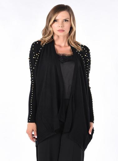 Optique Knitwear Düz Şal Yaka Uzun Kol Triko Hırka Siyah